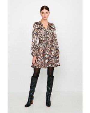 Karen Millen Textured Marble Print Belted Dress -, Brown