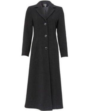 De La Creme  Double Single Fitted Long Coat  women's Parka in Black