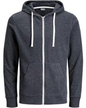 Jack   Jones  Holmen Zip Front Sweat Hoodie  men's Sweatshirt in Grey