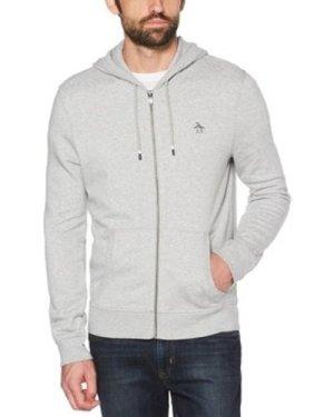 Original Penguin  Sticker Pete Zip Hoodie  men's Sweatshirt in Grey