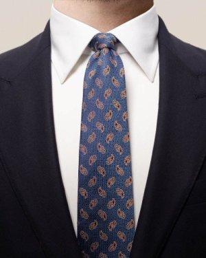 Navy & orange paisley tie
