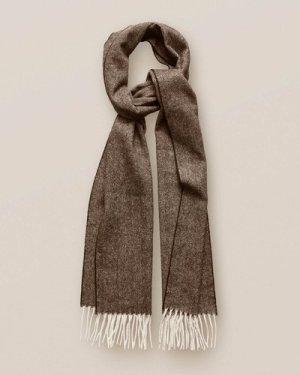 Brown Herringbone Wool Scarf