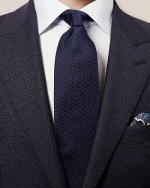 Dark Blue Basketweave Tie
