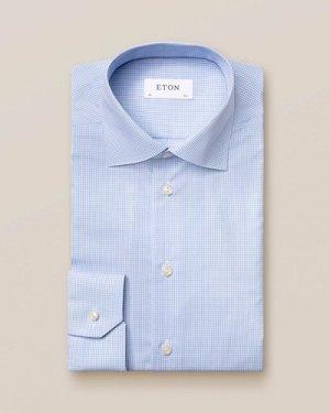 Light Blue Check Poplin Shirt