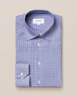 Mid Blue Check Twill Shirt