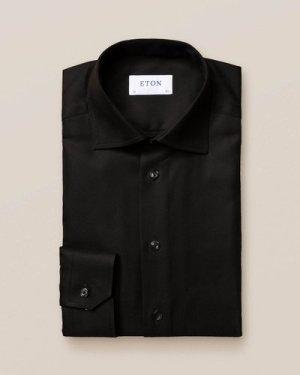Black Textured Twill Shirt