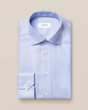 Light Blue Patterned Twill Shirt