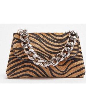 Coast Zebra Print Bag With Chunky Chain Strap -, Animal