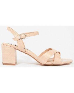 Coast Mock Croc Block Heel Sandal -, Nude