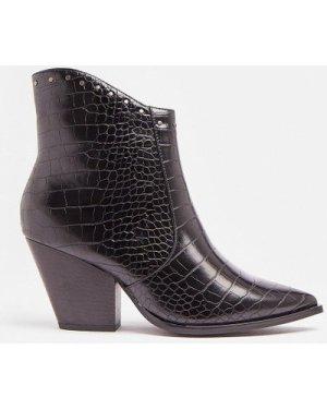 Coast Croc Heeled Western Boots -, Black