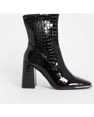 Coast Croc Chunky Heel Boots -, Black
