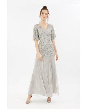 Coast Sequin Angel Sleeve Maxi Bridesmaid Dress -, Silver