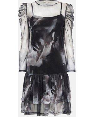 Coast Printed Mesh Tiered Hem Dress, Multi