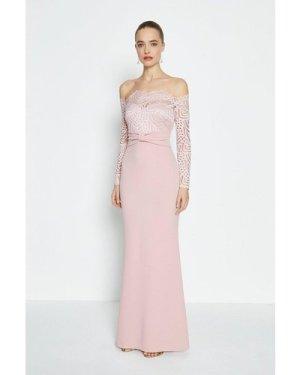 Coast Long Sleeve Lace Bardot Maxi Dress -, Pink
