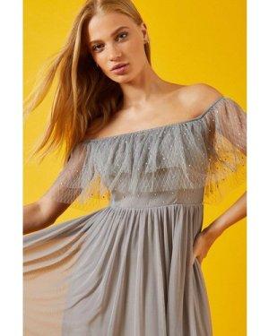 Coast Frill Bardot Embellished Bodice Maxi Dress -, Grey