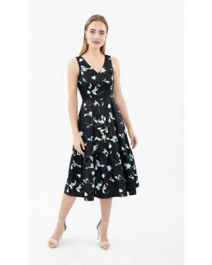 Coast V-Neck Twill Dirndl Hem Midi Dress -, Black