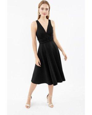 Coast Ruched Front Full Scuba Midi Dress -, Black