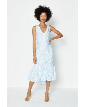 Coast V Neck Peplum Hem Dress -, Pale Blue