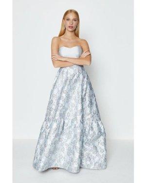 Coast Silver Jacquard Bandeau Maxi Dress -, Grey