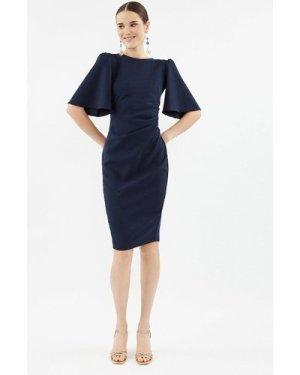 Coast Flare Sleeve Crepe Dress -, Navy