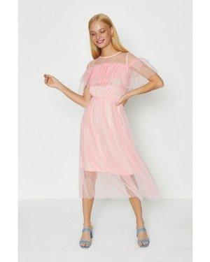 Coast Ruffle Mesh Dress -, Pink