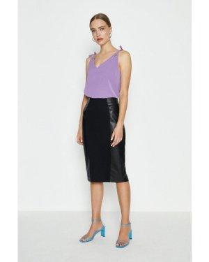 Coast Pu Panelled Ponte Midi Skirt -, Black