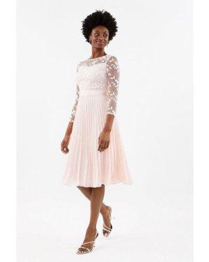 Coast Embroidered Long Sleeve Midi Dress -, Pink