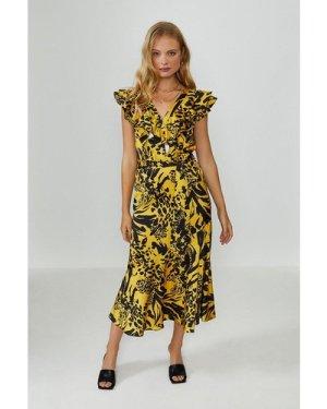Coast Midi Ruffle Wrap Dress -, Yellow