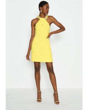 Coast Embellished Halter Neck Short Dress -, Yellow