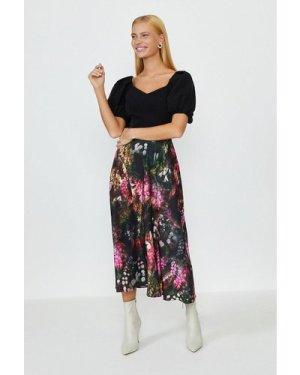Coast Solid Bodice Printed Skirt Midi Dress -, Black