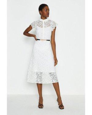 Coast Belted Lace Shirt Dress -, White