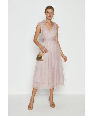 Coast Bow Shoulder Mesh Midi Dress -, Pink