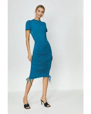 Coast Slinky Jersey Ruche Side Dress -, Blue