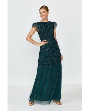 Coast Angel Sleeve Sequin Maxi Dress -, Green