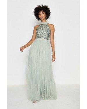 Coast Sequin Bodice Halter Maxi Dress -, Sage