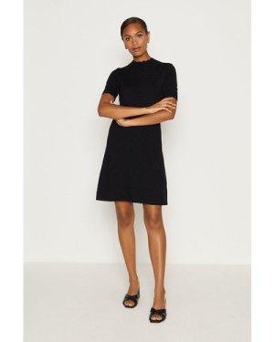 Coast Short Sleeve Pointelle Dress -, Black
