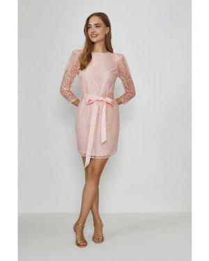 Coast Lace Tie Waist Long Sleeve Mini Dress -, Pink