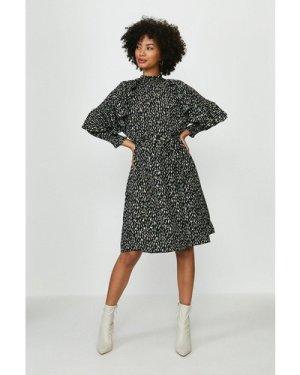 Coast Smudge Print Ruffle Sleeve Dress -, Black
