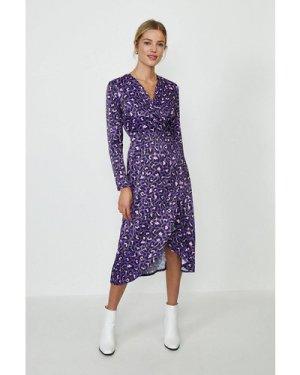 Coast Printed Jersey Wrap Dress -, Purple