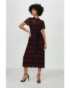 Coast Striped Mono Lace Shirt Dress -, Red