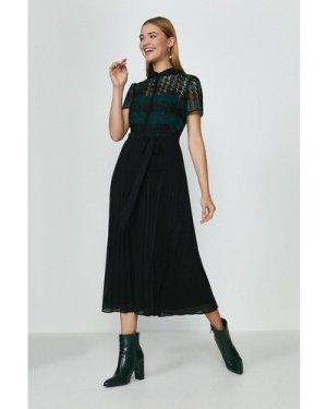 Coast Lace Pleat Midi Dress -, Green
