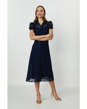 Coast Lace Midi Shirt Dress -, Navy