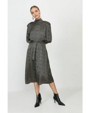 Coast High Neck Tie Waist Midi Dress -, Black