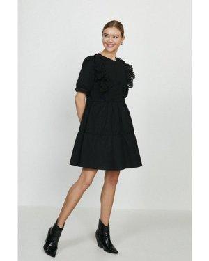 Coast Guipure Lace Trim Dress -, Black