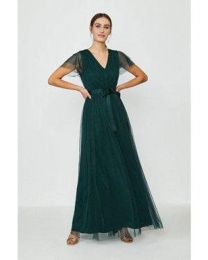 Coast Tulle V-NeckTie Belt Maxi Dress -, Green