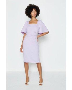 Coast Square Neck Flare Sleeve Dress -, Lilac