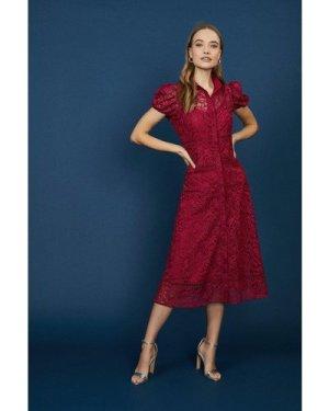 Coast Lace Midi Shirt Dress -, Red