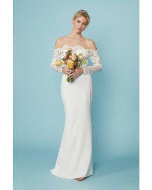Coast Long Sleeve Lace Bardot Bridal Maxi Dress -, Ivory