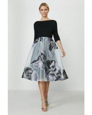 Coast Clipped Jacquard Full Midi Dress -, Mono