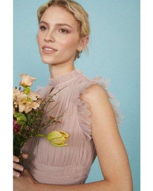 Coast Tulle Tiered Frill Sleeve Bridesmaid Dress -, Pink